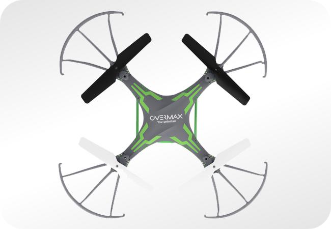 Overmax X-Bee Drone 3.1 Plus WiFi wyposażony został w 4 śmigła gwarantujące stabilny lot